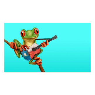 Tree Frog Playing Texas Flag Guitar Blue Business Card Template