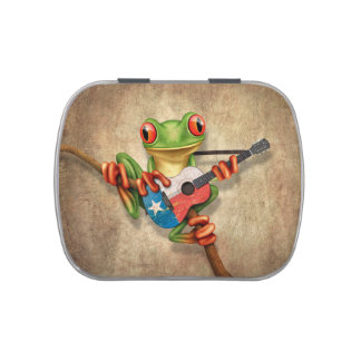 Tree Frog Playing Texas Flag Guitar Jelly Belly Tin