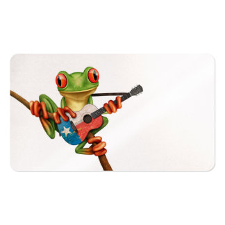 Tree Frog Playing Texas Flag Guitar White Business Card