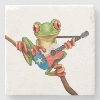 Tree Frog Playing Texas Flag Guitar White Stone Beverage Coaster
