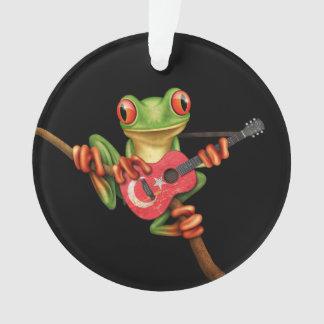 Tree Frog Playing Turkish Flag Guitar Black Ornament