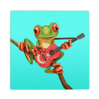 Tree Frog Playing Turkish Flag Guitar Blue Wooden Coaster
