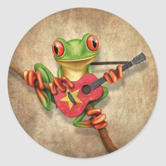 Tree Frog Playing Vietnamese Flag Guitar Classic Round Sticker
