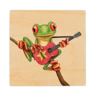 Tree Frog Playing Vietnamese Flag Guitar White Wood Coaster