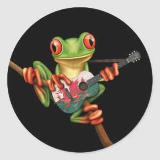 Tree Frog Playing Welsh Flag Guitar Black Classic Round Sticker