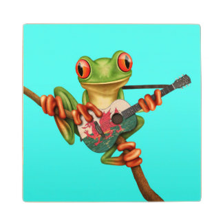 Tree Frog Playing Welsh Flag Guitar Blue Wood Coaster