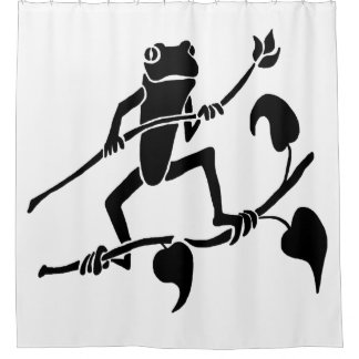 Tree Frog Silhouette Shower Curtain