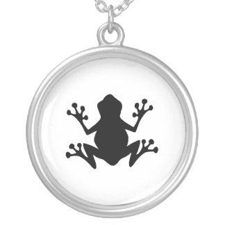 Tree Frog Silhouette Silver Plated Necklace