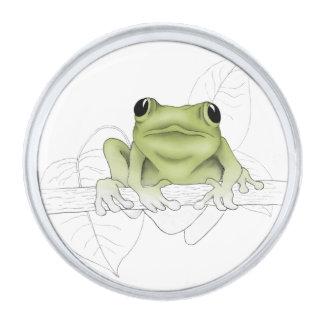 Tree Frog Silver Finish Lapel Pin