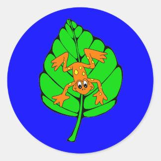 tree frog round stickers