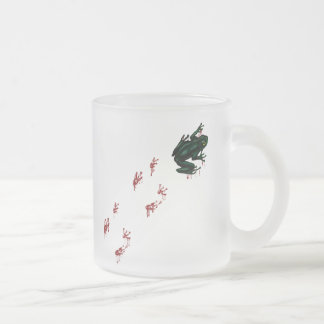 Tree Frog with Bloody Tracks Frosted Glass Coffee Mug