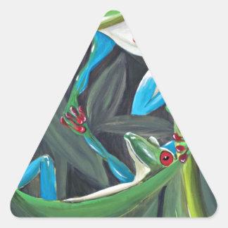tree frogs triangle sticker