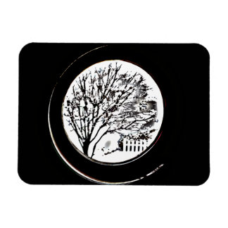 Tree from the Porthole - Black and White Magnet