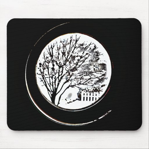 Tree from the Porthole - Black and White Mousepads