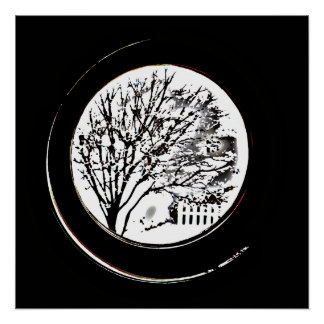 Tree from the Porthole - Black and White Poster