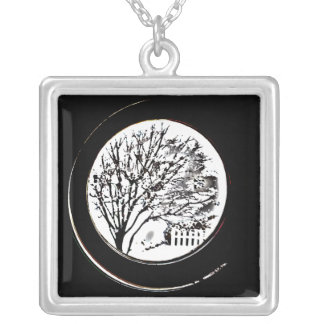 Tree from the Porthole - Black and White Square Pendant Necklace