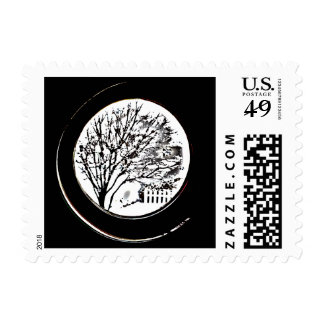 Tree from the Porthole - Black and White Stamp