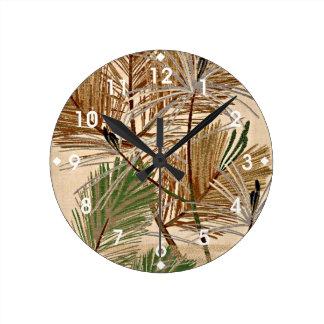 Tree Fronds design Round Clock