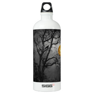 Tree full of ravens with a full moon. aluminum water bottle
