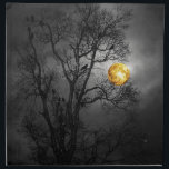 "Tree full of ravens with a full moon. cloth napkin<br><div class=""desc"">Silhouette of a bare tree full of ravens at night with a full moon for a wickedly scary look.</div>"