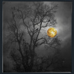 """Tree full of ravens with a full moon. cloth napkin<br><div class=""""desc"""">Silhouette of a bare tree full of ravens at night with a full moon for a wickedly scary look.</div>"""