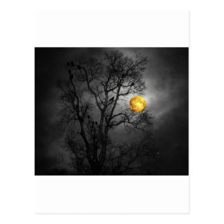Tree full of ravens with a full moon. postcard