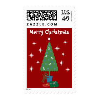 Tree, Gifts,Teddybear & Stars Red Christmas Stamps