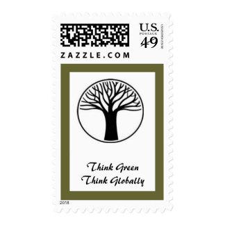 Tree- Globally Postage Stamp