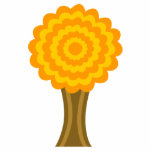Tree. Golden Autumn colors. Funky Design. Photo Cutouts