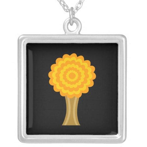 Tree. Golden Autumn colors. Funky Design. Square Pendant Necklace