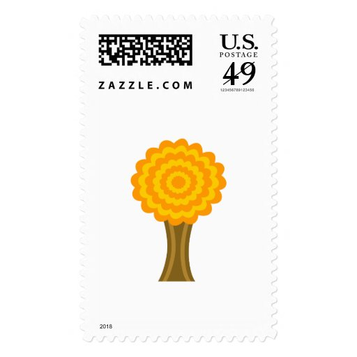 Tree. Golden Autumn colors. Funky Design. Stamps