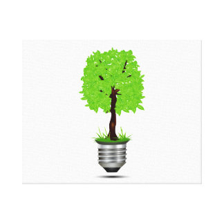 tree graphic in lightbulb base ecology design.png canvas print