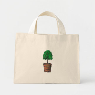 Tree graphic in wooden barrel bucket mini tote bag