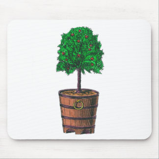 Tree graphic in wooden barrel bucket mouse pads