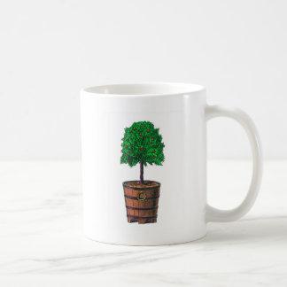 Tree graphic in wooden barrel bucket classic white coffee mug