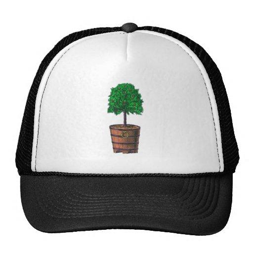 Tree graphic in wooden barrel bucket trucker hat