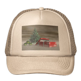 tree green and gifts and balls trucker hat