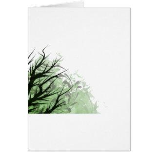 Tree green floral left side card