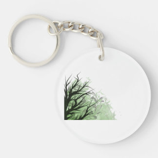 Tree green floral left side Double-Sided round acrylic keychain