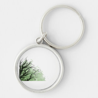 Tree green floral left side Silver-Colored round keychain