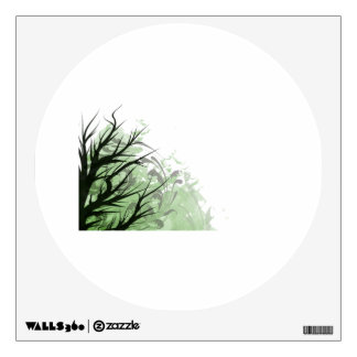 Tree green floral left side wall sticker