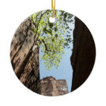 Tree Growing Between Rocks at Zion National Park Ceramic Ornament
