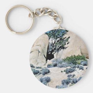 Tree Growing Between Two Boulders Keychains