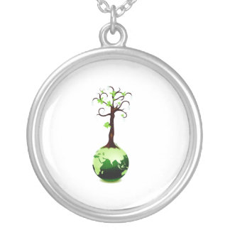 tree growing out of green globe ecology.png silver plated necklace