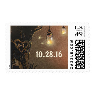 tree heart and mason jars wedding postage stamp