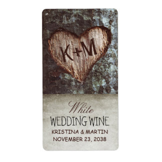tree heart rustic vintage wedding wine labels