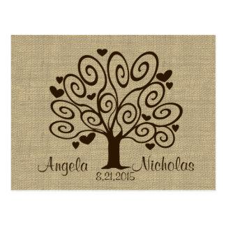 Tree Hearts Wedding Response Card Post Card