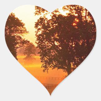 Tree Horse Farm Sunrise Kentucky Heart Sticker