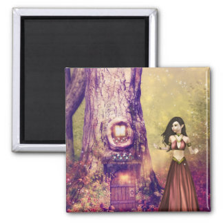 Tree house 2 inch square magnet