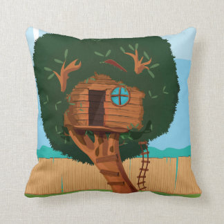 Tree house Cartoon Throw Pillows